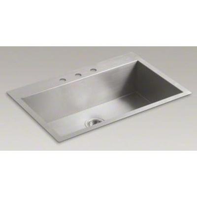 Kohler Vault 33 x 22 x 9.31 Top-Mount/Under-Mount Large Single-Bowl Kitchen Sink with 3 Faucet Holes