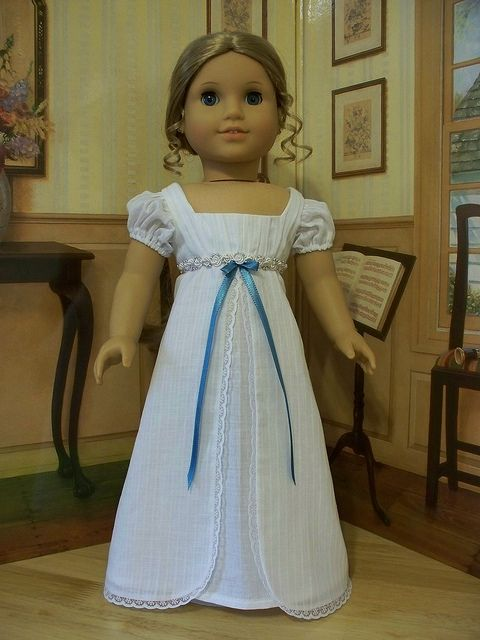 White cotton Batiste Regency Era Gown- Made to fit American Girl Dolls by Keepersdollyduds, via Flickr