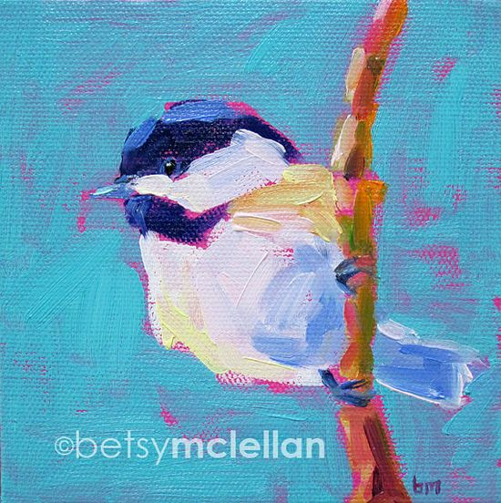 Chickadee Matted Giclee Print by betsymclellanstudio, $19.00
