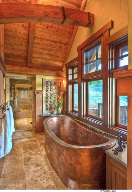 Log cabin bathroom...gorgeous copper tub, I love this!