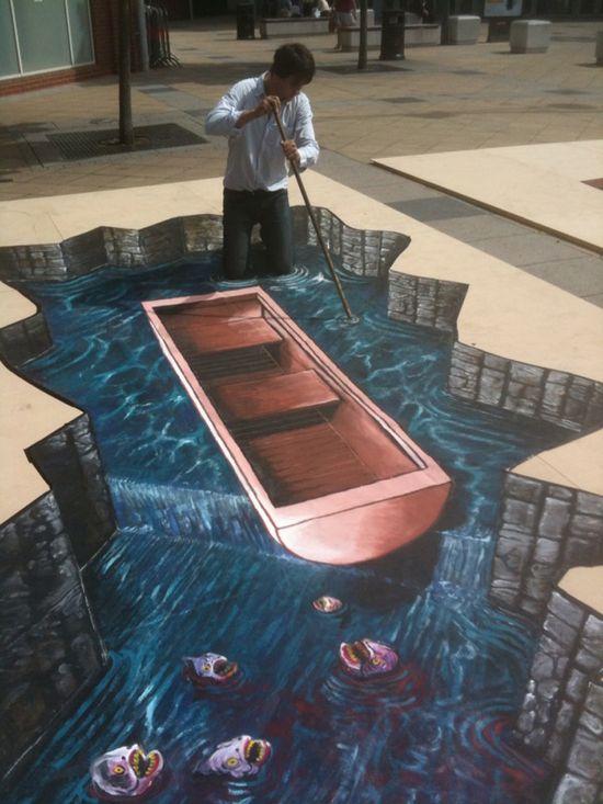 Joe Hill Art - 3D Pavement Art  artist, art, optical illusion, painting, paintings, street art