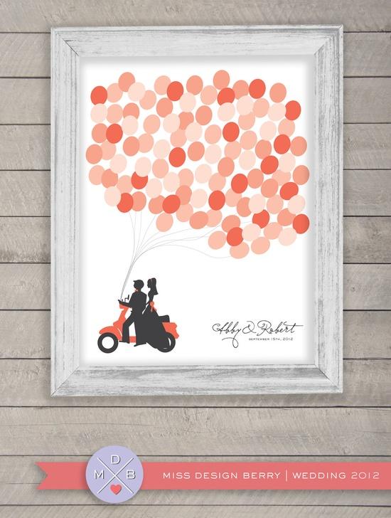 Guest Book Alternative Wedding Balloon Bunch by MissDesignBerry, $48.00