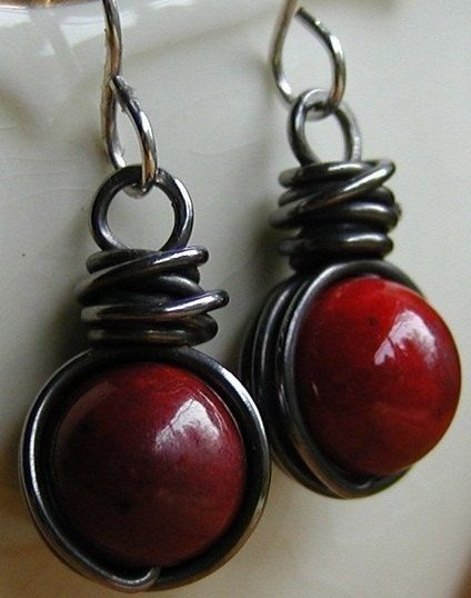 Red Earrings  Sterling Silver Steel Wire Jewelry by gcuff on Etsy, $19.00