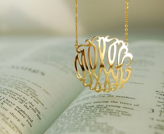 18K Gold Plated Monogram Necklace 1inch Personalized by monoArtian, $59.00