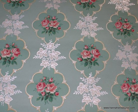1940's Pink Rose vintage wallpaper on mint by HannahsTreasures, $14.00