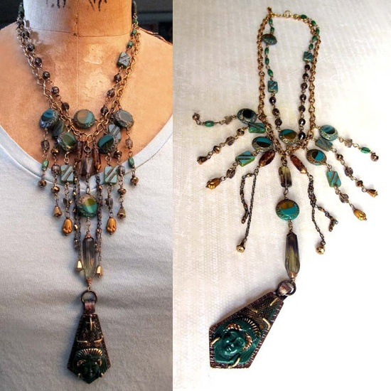 Egyptian Revival Bib Style Pharaoh Green Statement Necklace by OverTheTop on Etsy, $175.00  www.etsy.com/...