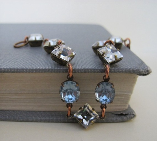 Crystal Bracelet Vintage Jewels Light Sapphire Ice by fiveforty, $48.00