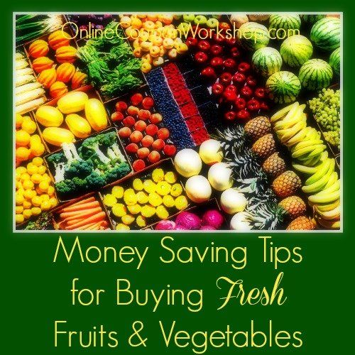 Tips to save you money on fresh fruits and vegetables. Free printables for helping know what produce is in season as well as one for spotting a good price. #freezercooking #oamc #informative