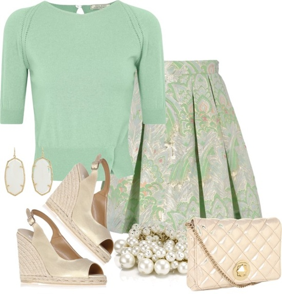 """mint and metallic"" by sarah-adams-barbo ❤ liked on Polyvore"