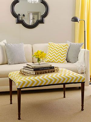 Make over an old ottoman into a bright and cheery coffee table!  #diy #decor #home #homedecor #livingroom #decor #home #homedecor #livingroomdecor #decorating #inspiration #design #homedesign #couch #DIY #tv #creative #crafts