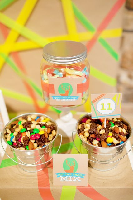 Trail mix at a Neon Camping Party!  See more party ideas at CatchMyParty.com!  #camping #partyideas