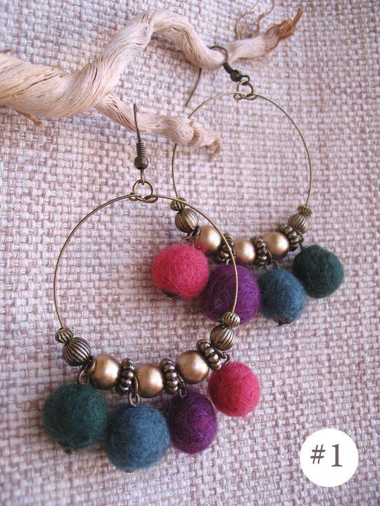 Fun Wool Felt Handmade Earrings - with dangling colorful felt balls! -
