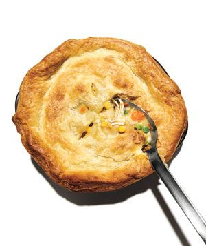 Chicken pot pie recipe with canned corn chowder as a short-cut ingredient.
