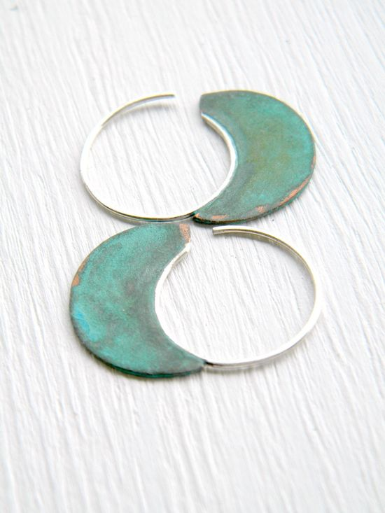 FREE SHIPPING - Little Urban Hoops, Verdigris - handmade copper and sterling silver earrings, verdigris patina. $33.00, via Etsy.