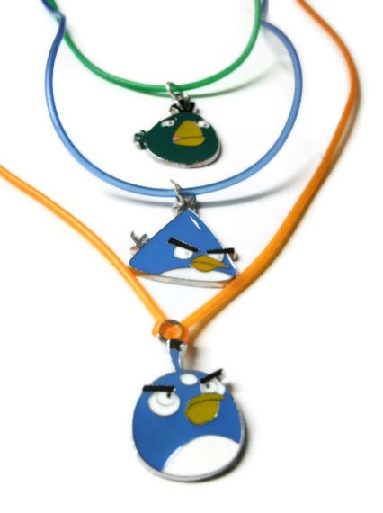 Angry Birds Necklace, You Choose Charm Style and Silicon Cord Color, Customizable, Made To Order #angrybirds #angry #birds #videogame #game #necklace #jewelry #custom $10.00