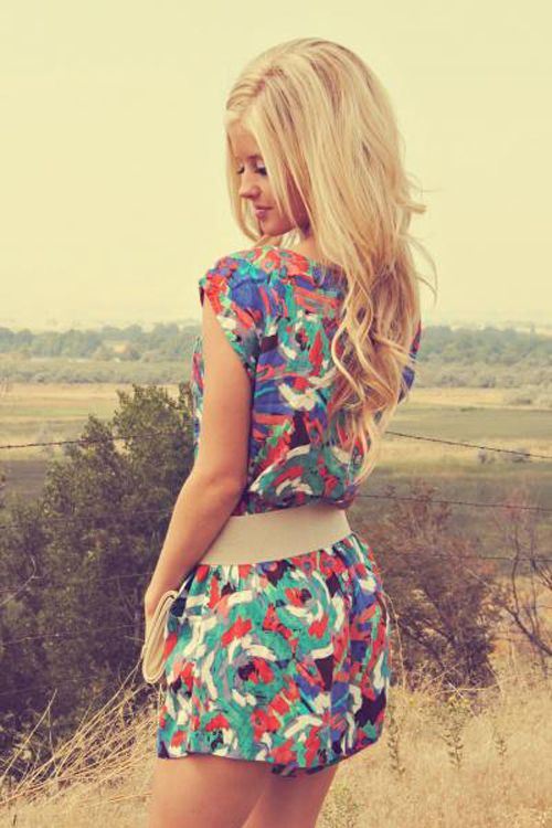 love a bright, colorful romper for spring