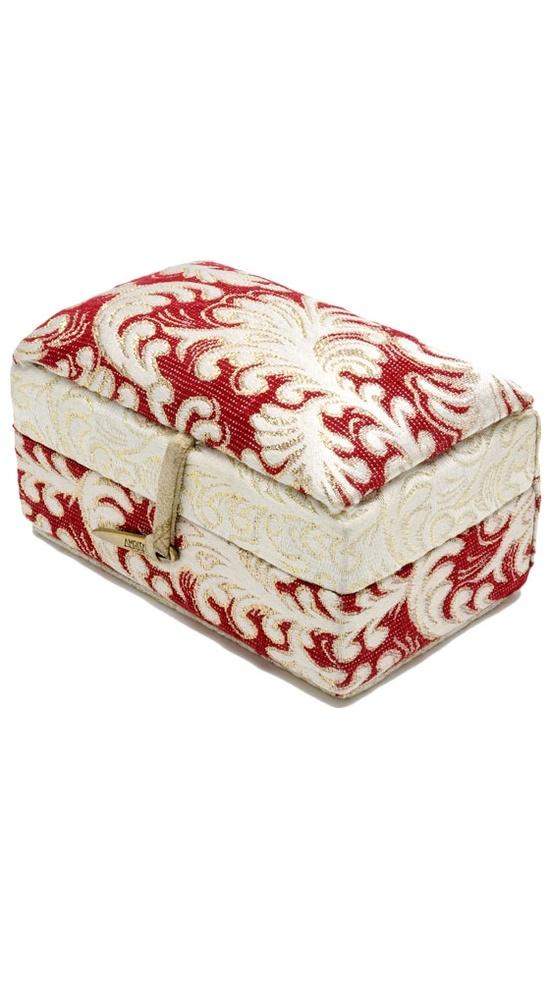 Beautiful red damask jewelry box.