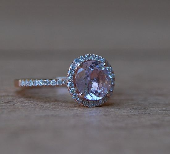 1.76ct round Peach sapphire Champagne sapphire ring diamond ring 14k rose gold Engagement ring. $2,000.00, via Etsy.