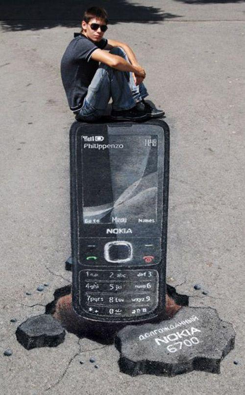 3D, Nokia 3D Chalk Art