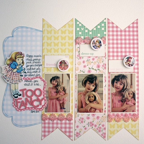 Marvelously cute scrapbook page with darling retro looking elements. #cute #scrapbook #page #scrapbooking #pastel #crafts #girly #paper