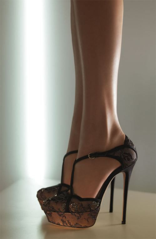 I'd NEVER wear such a high heel, but these are gorgeous.