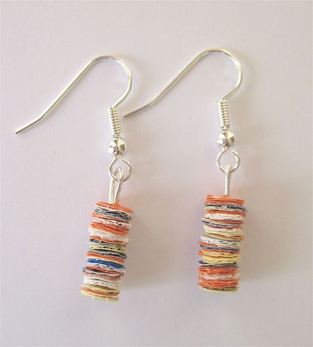 recycled plastic earrings, made from fused plastic bags