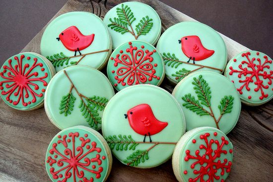 Adorable red and green cookies with sweet little bird - by Cookie Cutter Creations