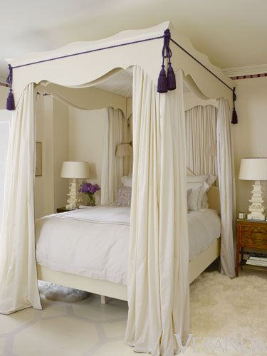 love this creamy room and bed with tassels--Ruthie Sommers's Advice on Decorating and Being an Interior Designer - Veranda.com