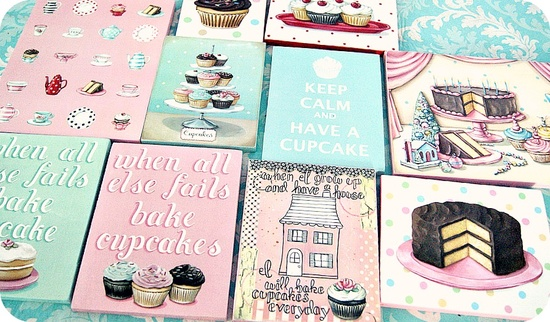 Original art print mini plaques by Everyday is a Holiday #cake #cupcakes #kitchen #art #decor #vintage #bakery