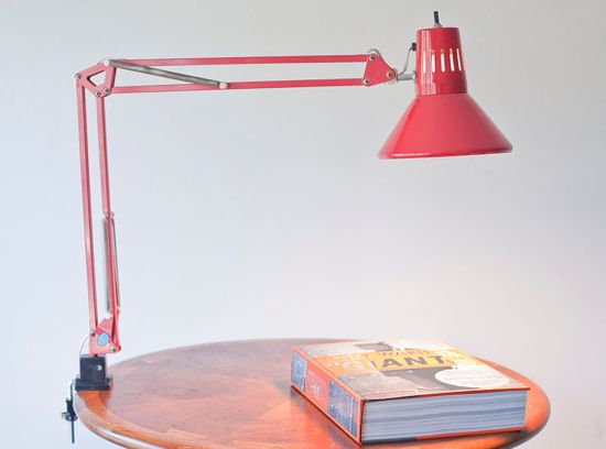 Vintage Task Light Lamp Swing Arm Lamp Red by TheSpringFox / $39.00 via @Etsy