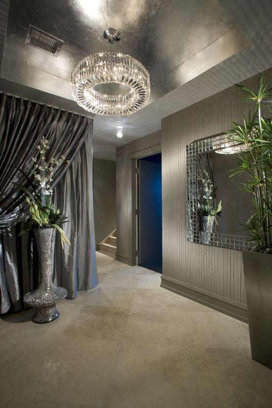 ? Masculine interior design metallic ceiling chandelier glam interior design entryway