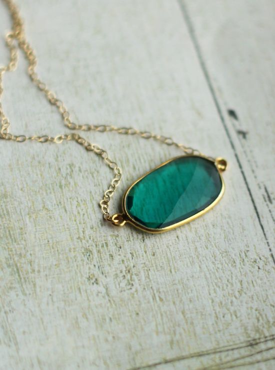 green quartz, vermeil & 14k gold filled necklace: Etsy