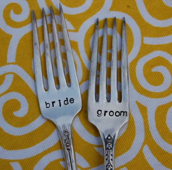 Bride and Groom forks for the reception