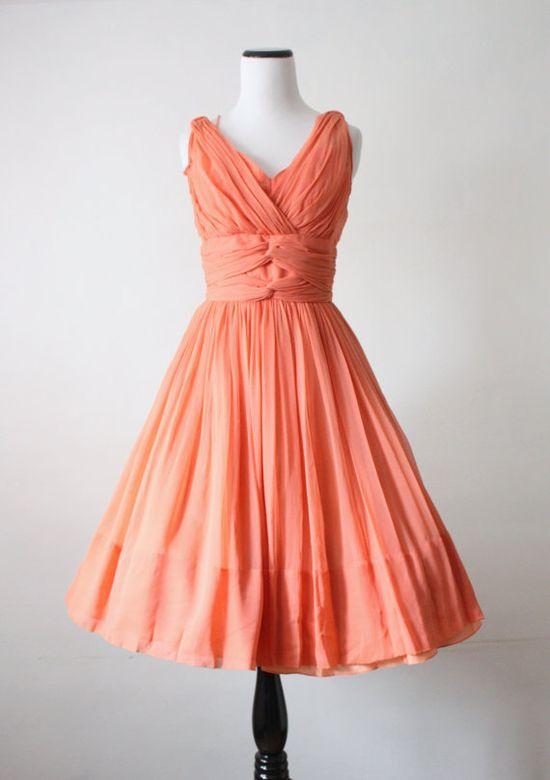 1950's Coral Chiffon Dress