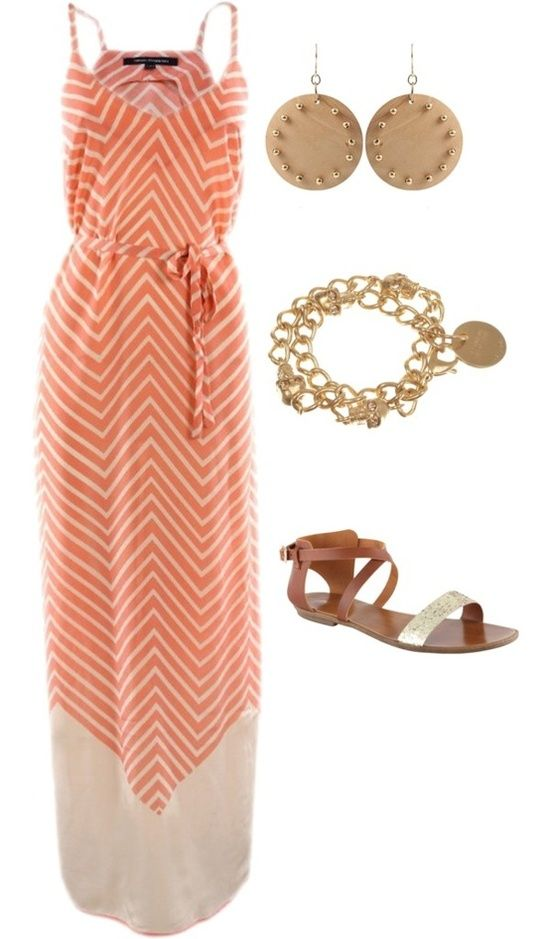 chevron maxi, gold jewelry and sandals