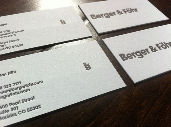 Berger & Föhr Business Cards, printed by Sweet Letter Press