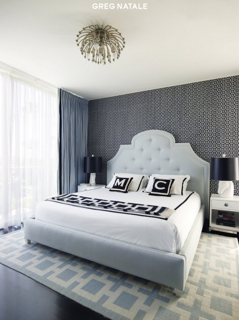 a lovely bed room featuring monogram pillows  #monogram #monogrammed #pillow , monogram cushions , bed room, black and white monogram pillow #gift