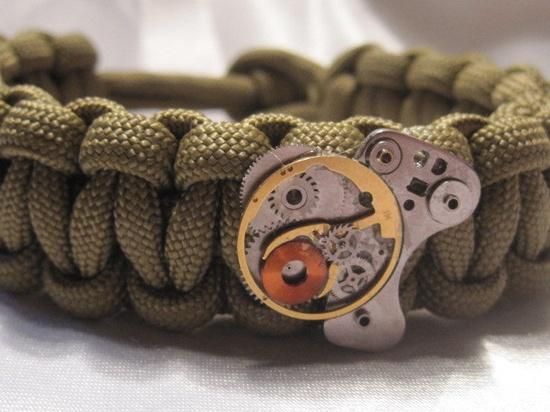 Paracord Survival Bracelet Steampunk Watch Gears Metal Green Brown. $10.00, via Etsy.