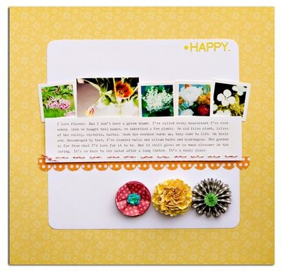Simply Happy #yellow #simple #journal #garden #scrapbook #layout