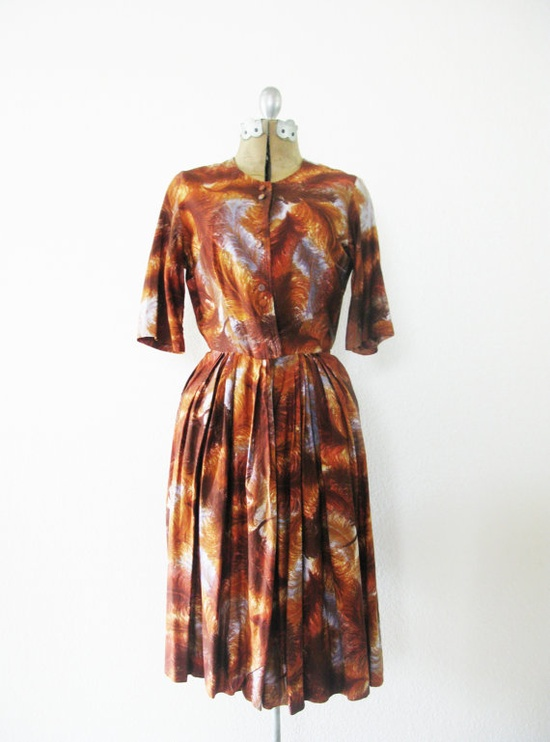 Vintage 1960's Ostrich Feather Print Dress