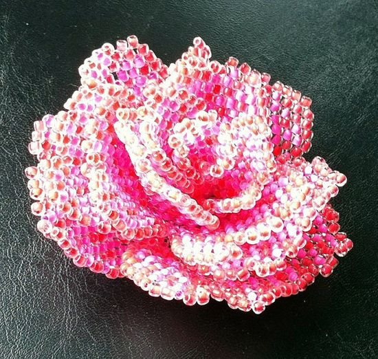 *P Pattern for beaded rose - scheme of the beaded rose - beading tutorial