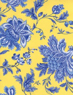 Timeless Vivienne Jacobean Floral Blue and Yellow
