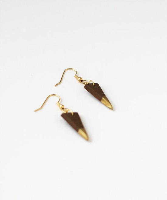 gold dipped triangle earrings #triangle #earrings #gold #hazelnut #ammjewelry