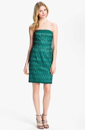 Adrianna Papell Strapless Sequin & Lace Sheath Dress available at #Nordstrom