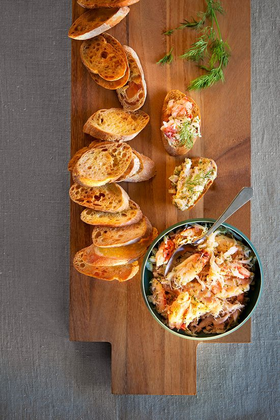Crab Toast Canapés by Micael Pollan, oprah.com: Here is the recipe. www.oprah.com/... #Appetizers #Crab #Healthy
