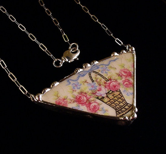 Broken china jewelry necklace by Dishfunctional Designs