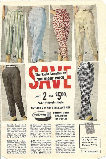 Six lovely, summertime casual pairs of 1950s cropped pants. #pants #vintage #dress #retro #fashion #1950s
