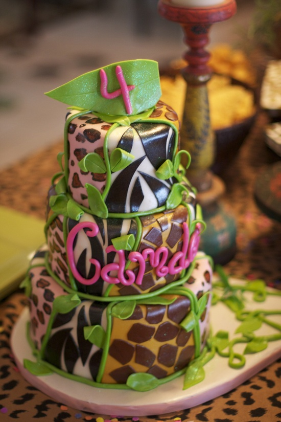 Wild animal print cake for a jungle party
