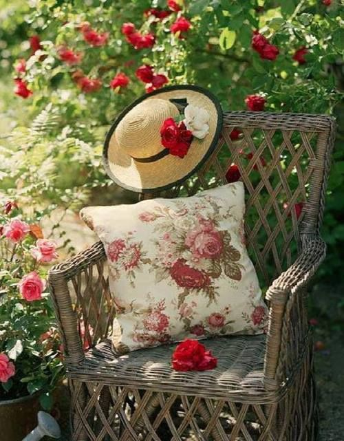 wicker and red roses