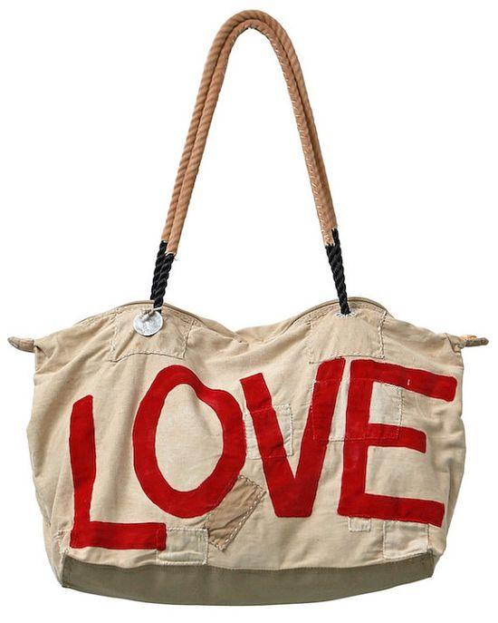 Ali Lamu Vintage Sailcloth Bag 'LOVE' /  by sophievoskooistra